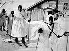 Příslušníci Modré divize museli zvládnout i jízdu na lyžích.
