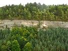 Pískovcové skály v Ralsku obklopují husté smíšené lesy.