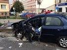 Nehoda na pražské Českomoravské ulici. (6. října 2013)