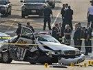 Zničené policejní auto po honičce nedaleko washingtonského Kapitolu (3. října