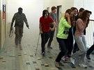 Policejní cvičení s názvem Aktivní střelec na pardubickém gymnáziu Mozartova.
