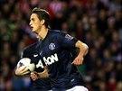 Z�lo�n�k Adnan Januzaj se raduje z prvn�ho g�lu za Manchester United.