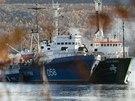 Lo� organizace Greenpeace Arctic Sunrise (vpravo) kotv� v Kolsk�m z�livu u