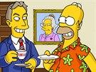 Homer Simpson potkal i Tonyho Blaira.