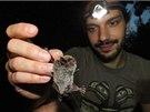 Evžen Tošenovský ukazuje netopýra vodního při kontrolním odchytu v areálu