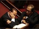 Silvio Berlusconi v senátu s premiérem Enrico Lettem.
