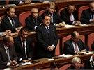 Silvio Berlusconi mluví v italském senátu.