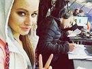 Miss Tereza Chlebovská coby reportérka Prima Cool na Lize mistrů