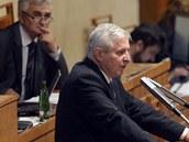 Premiér Jiří Rusnok na jednání Senátu (9. října 2013)