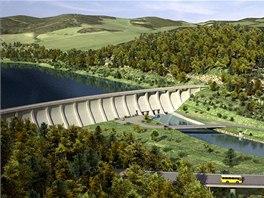 Vizualizace hráze přehrady v Nových Heřminovech na Bruntálsku.