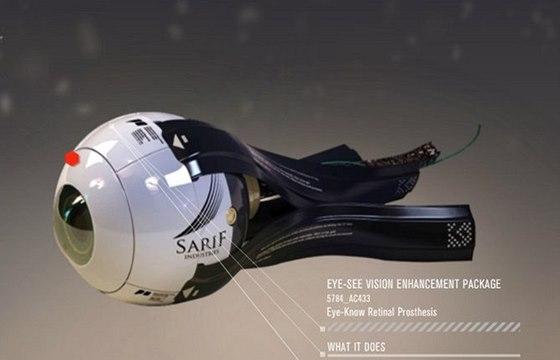 Oční implantát od společnosti Sarif Industries, který ve skutečnosti neexistuje.