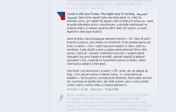 Facebookov� str�nky vyu��vaj� n�kte�� muslimov� k z�sk�n� podpory p��padn�