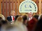 Prezident Miloš Zeman při debatě se studenty kolínské obchodní akademie (16.