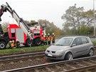 Prvním vozem, který blokoval tramvaje, byl Renault Scénic. (14. října 2013)