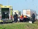Dopravní nehoda na dálnici D8 v Praze.
