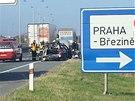 Nehoda na dálnici D8 v Praze.