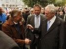 Miloš Zeman se s nymburskými občany setkal na Náměstí Přemyslovců.