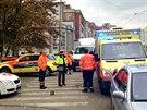 Nehoda v Nusl�ch, p�i n� vjelo d�t� pod kola autu