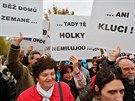 V Dobříší ale čekala na prezidenta i zhruba třicítka protestujících s...