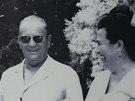 Fotografie Jovanky Brozov� a Josifa Broze Tita v jeho pam�tn�ku v B�lehrad�
