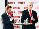 Šéfredaktor MF DNES Robert Čásenský a jeho zástupce Jiří Kubík (vpravo) při