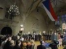 Prezident Miloš Zeman poprvé předává státní vyznamenání (28. října 2013).