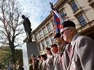 Ceremoniál při příležitosti vzniku republiky u sochy T. G. Masaryka na...