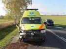 Snímek z nehody, při níž ve středu odpoledne Škoda Superb v Přerově při