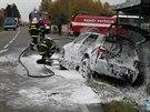 Při vážné nehodě se srazilo osobní auto s motorkou u Potštejna (23.10.2013).