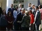 Barack Obama při tiskové konferenci k technickým problémům, které provází