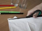 Papírový kapesník rozstříhej na zhruba dvoucentimetrové proužky.