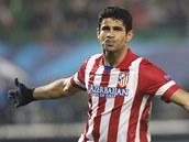 OSLAVA BEZ ÚSMĚVU. Diego Costa z Atlétika Madrid po své trefě do sítě Austrie