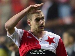 Slávista Martin Juhar se raduje z vítězného gólu v derby s Bohemians.