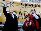Demonstrace proti povolebn�mu d�n� v �SSD na n�m�st� Svobody v Brn�