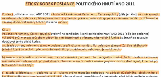 Etick� kodex poslance politick�ho hnut� ANO 2011