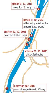 Místa nálezu části lidského těla podél Vltavy