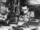 Václav Straka v redakci vojenského časopisu Naše noviny během války.