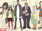 Náčrt postav ze světa Kamaly Chan alias Slečny Marvelové.