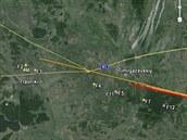 Dráha úlomků čeljabinského meteoritu během závěrečné fáze letu zemskou...