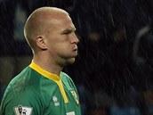 TĚŽKÝ ÚDĚL. John Ruddy čelil útokům Manchesteru City a schytal od nich sedm gólů. Tak vysokou porážku Norwich utrpěl.