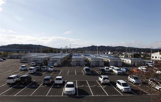 Dočasný obytný komplex Izumitamatsuju, kde žijí převážné lidé evakuovaní z...