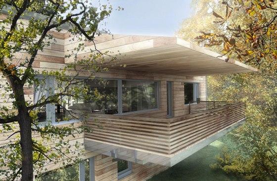 Vizualizace: visutá zastřešená terasa