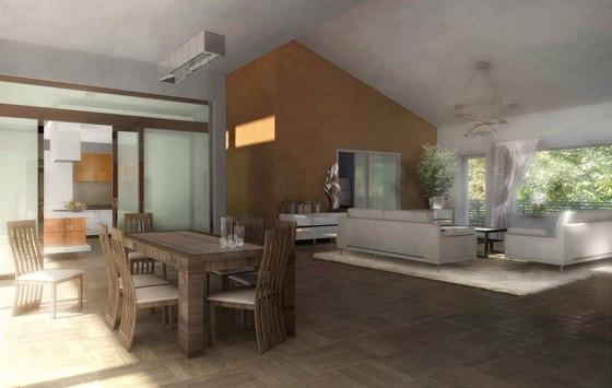 Vizualizace: obývací pokoj s jídelnou a průhledem do kuchyně