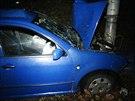 Nehoda osobního vozu ve Vysočanské ulici v Praze (10.11.2013)