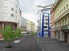 Tak by už příští rok mohla vypadat ulice 28. října v centru Ostravy. Nová cesta i chodníky, na nich vzrostlé javory.
