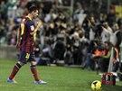 Lionel Messi z Barcelony střídá kvůli zranění.