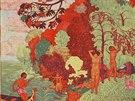 Josef Váchal, Ostrov blaženců, barevný dřevoryt, 1913