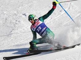Američan Bode Miller je téměř blízko pádu během slalomu v superkombinaci mužů