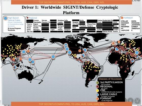 Mapa zobrazující místa, odkud NSA získává informace. Žlutě je vyznačeno...