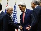Íránský ministr zahraničí Mohammad Džavád Zaríf se svým americkým protějškem